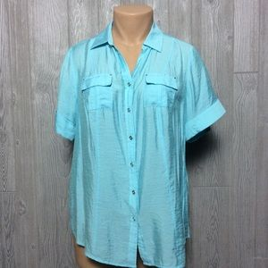 Sweet Blue Crinkle Blouse PLUS SIZE 1X